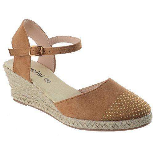 Donne strass espadrillas basse mezza zeppa con cinghia sandali scarpe numero - cammello camoscio sintetico, 41
