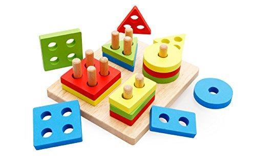 Tery Suministros de la Vida Cotidiana Apilador geométrico Clasificador de Forma Columna Rompecabezas Bloque de construcción Conjunto Bloque apilador de Aprendizaje de Madera