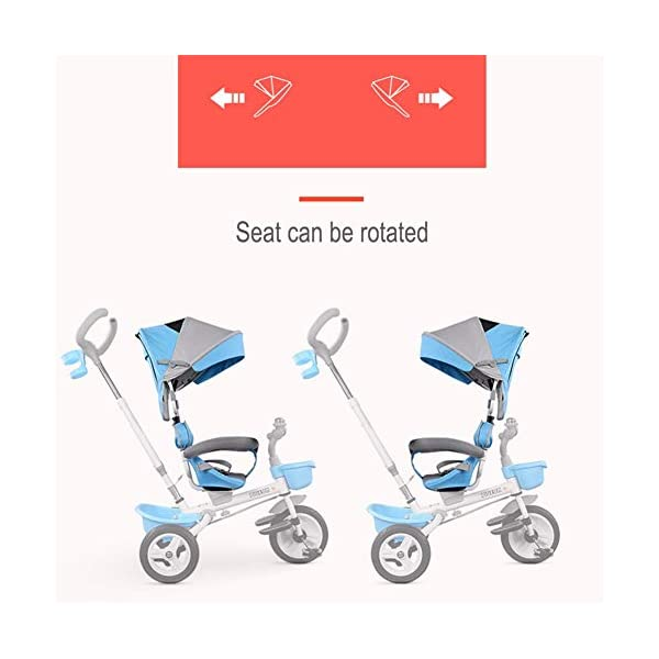 GSDZSY - Foldable Children Tricycle, Pusher Adjusts Height And Control Direction, Seat 360° Rotatable,Rainproof And UV Protection Awning,1-6 Years Old GSDZSY ❀ Material: High carbon steel + ABS + rubber wheel, suitable for children from 6 months to 6 years old, maximum load 30 kg ❀ Features: The push rod can be adjusted in height, the seat can be rotated 360, the backrest can be adjusted, the baby can sit or recline; the adjustable umbrella can be used for different weather conditions ❀ Performance: high carbon steel frame, strong and strong bearing capacity; non-inflatable rubber wheel, suitable for all kinds of road conditions, good shock absorption, seat with breathable fabric, baby ride more comfortable 2