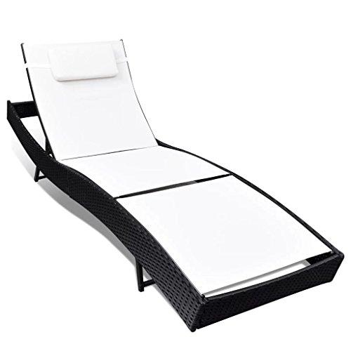 Festnight Poly-Rattan Sonnenliege Relaxliege Gartenliege Liege mit weißer Textilene 213 x 70 x (40-91,5) cm für Schwimmbad Garten oder Terrasse