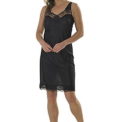 Ladies Black White Full Slips Knee Length Lace Trim Long UK 8-22 Size 0621