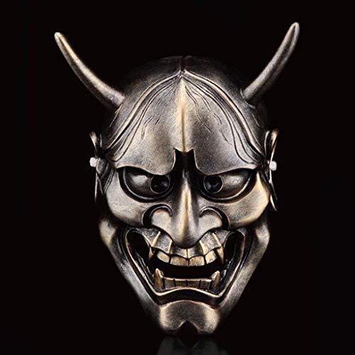 Halloween Horror Kostüm, Geist Kopf Maske Cosplay Samurai Requisiten Geschenke Unisex - Erwachsene, Single Size (Farbe : Bronze)
