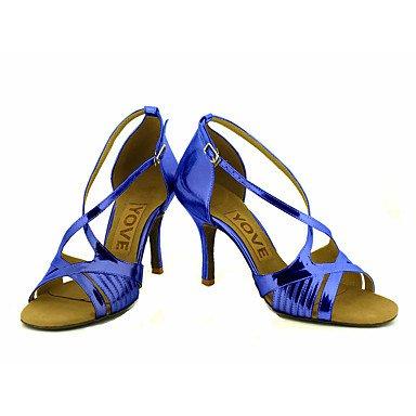 Scarpe da ballo-Personalizzabile-Da donna-Balli latino-americani / Salsa-Tacco su misura-Brillantini-Nero / Blu / Rosa / Rosso / Argento Blue
