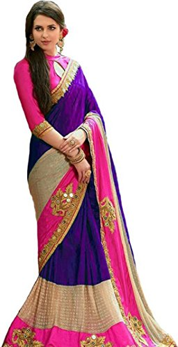 Active Women's Georgette & Benglory Embroidery & handwork Saree Purple Color