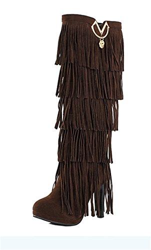 YE Damen High Heels Plateau Wildleder KnieHoch Stiefel mit Fransen Bequeme Blockabsatz 10cm Fashion Elegant Herbst Winterschuhe