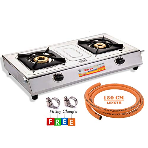 Surya Shining Flame Stainless Steel Cooktop Gas Stove with 1.5...