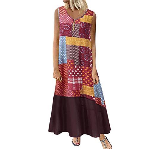 Tohole Damen Strandkleider Türkischer Stil Boho Lose Tunika Lange Sommerkleider Shirt Strandhemd Kleid Urlaub Vintage unregelmäßiges Kleid(Braun-L,2XL)