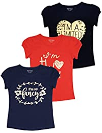 Minnow Girls Regular Fit Printed Cotton T-Shirt(Multicolour,Pack of 3)