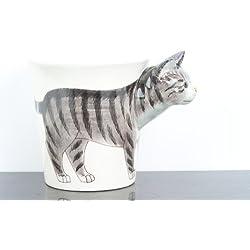 Taza pintada a mano de Gato Gris y negro 3D