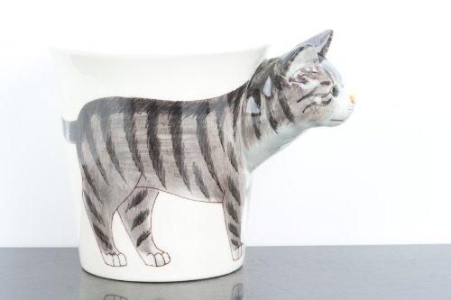 Taza pintada a mano con diseño 3D de gato gris y negro atigrado