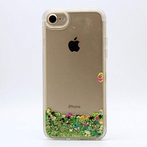 Cover Liquido per Apple iPhone 7 / 8 Plus , Keyihan Ragazza Donna Custodia Rosa Style Divertenti Brillantini Glitter Bling Liquid Flowing Case in Plastica Rigida e Silicone Morbido (Palloncino) Limone verde