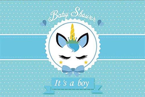Thema Auge geschlossen Einhorn Kopf Baby Dusche Foto Junge kleine weiße Punkte Neugeborenen Geschlecht offenbaren Party blau Fotografie Hintergrund Bildschirm Foto Studio ()