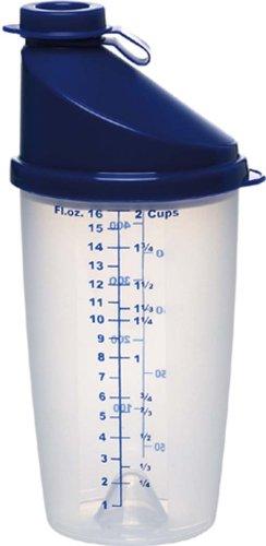 Emsa 214550440 Mixbecher mit Ausgussdeckel, 0.5 Liter, Mixscheibe, Transparent/Blau, Superline