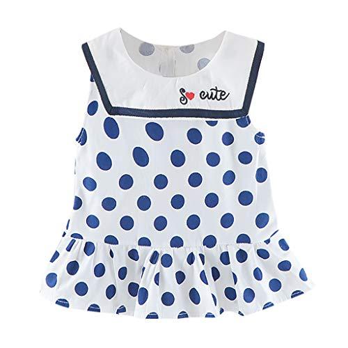Livoral Mädchen ärmelloses Cartoon Polka Dot Prinzessin Kleid Kind Baby Print Rüschenkleid Kleid(Blau,100)