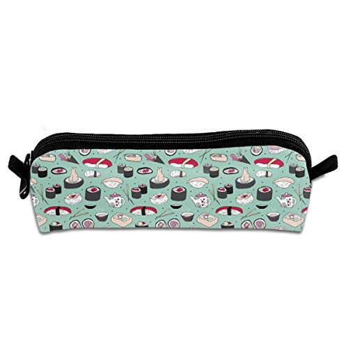 Violet Japanese Cherry Blossom Doodle Sushi Dinner Delicious Food Pattern Pencil Pouch Bag Stationery Pen Case Makeup Box with Zipper Closure 21 X 5.5 X 5 cm Apple Blossom Pattern