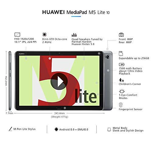 Huawei Mediapad M5 Lite Wifi 10,tablet-pc 25,6 Cm (10,1 Zoll), Full Hd, Kirin 659, 3gb Ram, 32 Gb Interner Speicher, Android 8.0, Emui 8.0, Grau