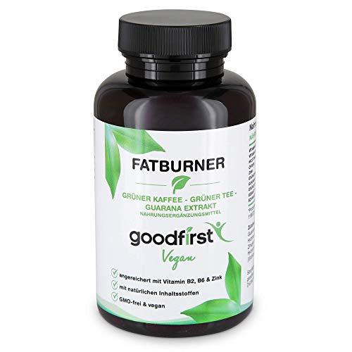 Fatburner – Grüner Kaffee, Grüner Tee, Guarana Extrakt – 90 vegane Diät Kapseln Hochdosiert – Zink, Vitamin B2 & B6 – Natürlicher Fettverbrenner zum Abnehmen und Stoffwechsel anregen – Vegan