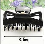 ddoq Frauen Kunststoff Butterfly Style Haarspange Haarklammer Clip 8,5* (schwarz)