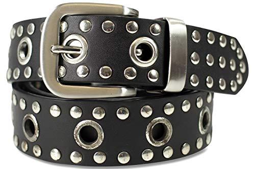 fashionchimp ® Nieten-Ösen-Gürtel, mit echtem Leder für Damen und Herren (Schwarz, 140/BW125 - Breite ca. 4cm) -