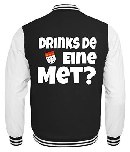 College Humor Kostüm - Köln - Drinks De Eine Met? Karneval - Geschenk - Überraschung - Tourist - Colonia - Alaaf - Kinder College Sweatjacke -9/11 (134/146)-Schwarz-Weiss