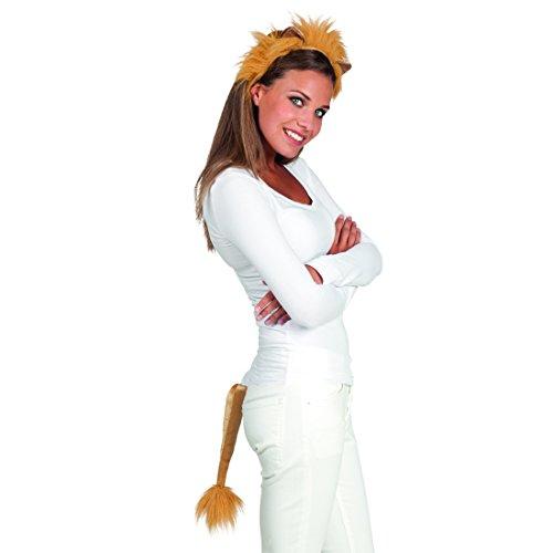 Amakando Löwenmähne mit Löwenschwanz Kostüm Set Löwe Löwen Haarreif Löwen Schwanz Löwenkostüm Zubehör Kostüm Set - Löwenmähne Kostüm Für Erwachsene