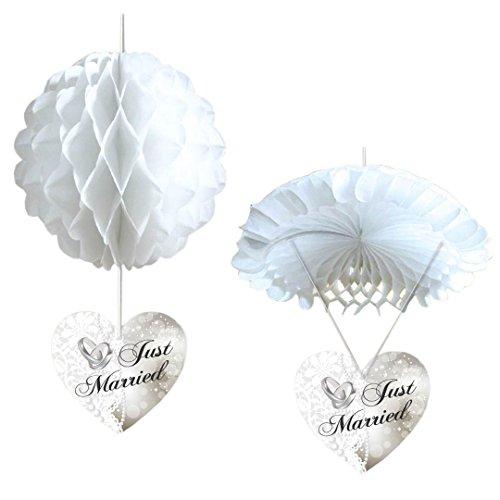 "2er SET Hänge-Deko (Ballon und Fallschirm) ""Just Married"", Papier"