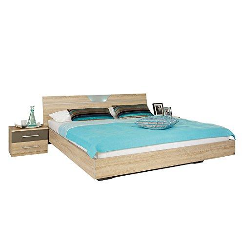 Rauch Bett 180×200 mit Nachttischen Eiche Sonoma, Absetzungen in Lavagrau, Stellmaß BxHxL 288x82x213 cm