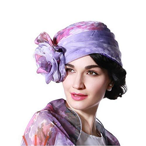 Sommer Baotou Hut Reine Farbe dünne Blumenform Chiffon Hut Mädchen Kappe Hut (Farbe : Lila) (Mädchen Lila Fedora)
