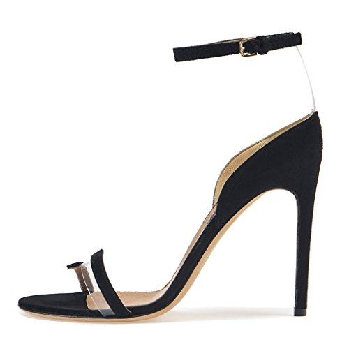 LYY.YY PVC Transparent Stitching Bankett Schuhe Super High Heel Sandaletten Knöchelriemen Roman Schuhe Sexy Stöckelschuhe mit Absatz Sandalen Offene Sandalen (Absatzhöhe: 11-13Cm),Black,44