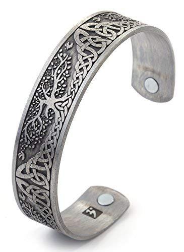Vintage Tree of Life Irish Knot Totem Health Care Magnet-Armreif (Antik-Silber)