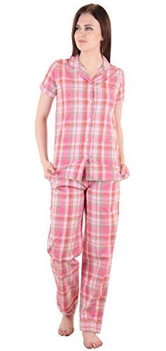 Damen Baumwolle Kurzarm Schlafhemd mit pj Pyjamahosen, 2 PC Nachtabnutzung Rosa and Orange