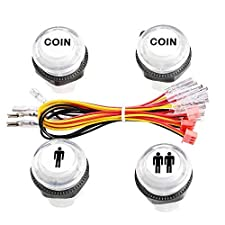 Reyann 4 Pcs/Lot 5V LED Illuminated Push Button 1P / 2P Player Start Buttons / 2x Coin Buttons for MAME / JAMMA / Fighting Games / Arcade Video Games