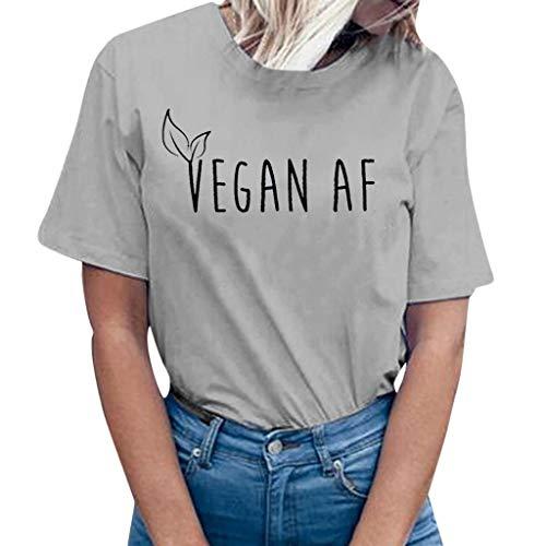 39d22c2a8 Camisetas de Mujer Camisa Manga Corta T-Shirts Impreso con el Alfabeto  Vegan AF Cuello