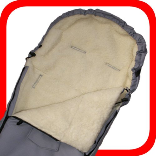 100% Lammwolle (Baby Universal Fußsack, 100% Lammwolle, grau)
