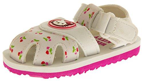 Hello Kitty Sangatta Bambina Sandali Bianchi Cinturino Velcro Sandali Della Punta Chiusa EU 23