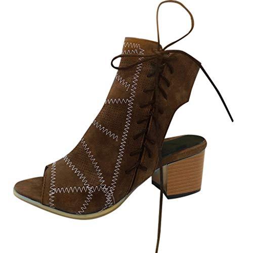 Fuibo Damen Schuhe Sandalen Stiefeletten Frauen Sommer Hohl Schuhe High Heels Side Zip Bow Fischmaul Casual Sandalen und Blockabsatz (37 EU, Braun) -