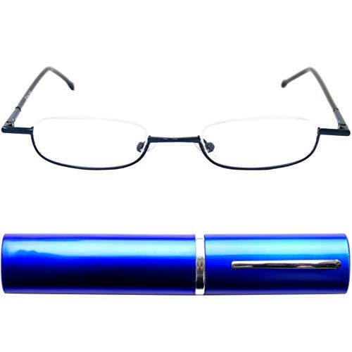 Leichte Metall Mini Halbbrille Lesebrille | Edelstahl Rahmen (Blau) | mit GRATIS Slim-Fit Alu Etui | Lesehilfe für Damen und Herren von Mini Brille | +3.5 Dioptrien
