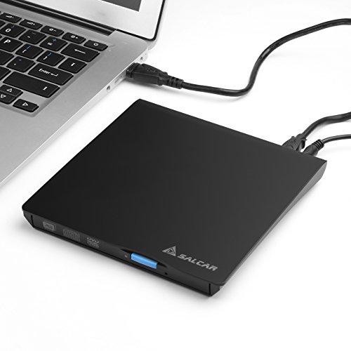 Salcar - Externes DVD-Brenner (CD/DVD) Laufwerk tragbar RW (100% Original Chip) für Laptops / Desktop Windows und Mac OS kompatibel -