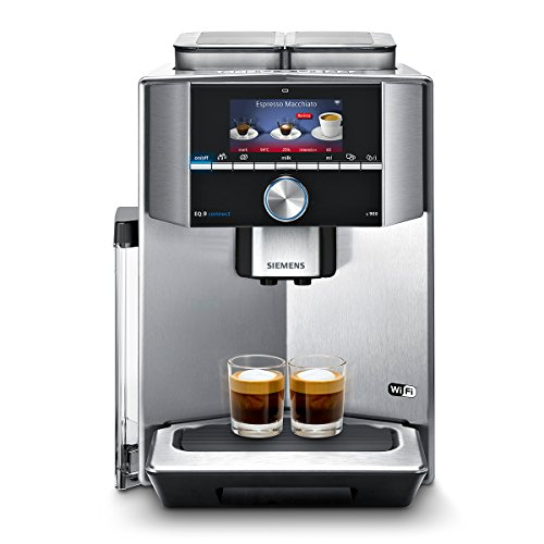 Siemens EQ.9 connect s900 Kaffeevollautomat (1500 Watt, sensoFlow System, Home Connect, autoMilk Clean, 2 Bohnenbehälter, baristaMode) edelstahl/shwarz