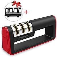Afilador de Cuchillos - Trongle Afiladores manuales afilado 3 en 1 antideslizante ergonómico para afilador profesional de cuchillos de cocina, seguro (con un cabezal de afilado reemplazable)