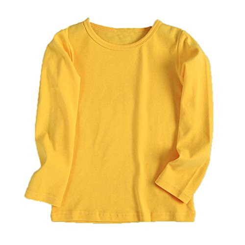 URSING Kinder Super süß Langarmshirts Süßigkeit Clour Familienkleidung Langarmshirt Basic Schlichtes Einfarbige Sweatshirt Junge Mädchen T-Shirt Unisex Klassik Pullover (90CM, Gelb)
