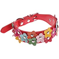 wiffe Verstellbarer Haustier-Halsband Hund Katze Welpe mit Blume, Freizeit, Kunstleder Größe S rot