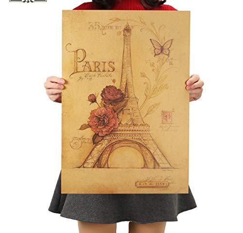 hfwh Wandaufkleber Wand Aufkleber Paris Eiffelturm Papier Home Decor Vintage Malerei Poster 51,5x36cm - Paris-wand-aufkleber