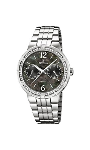 Festina Women's Quartz Watch with Black Dial Analogue Display and Silver Stainless Steel Bracelet F16700/2