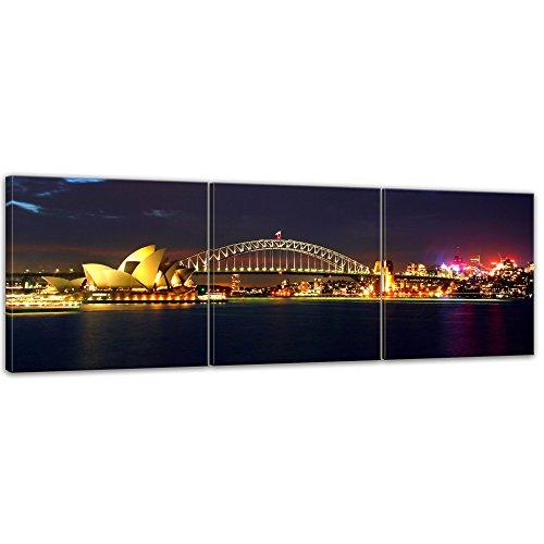 Kunstdruck - Sydney Opera House und die Harbour Bridge - Bild auf Leinwand - 180 x 60 cm 3tlg - Leinwandbilder - Bilder als Leinwanddruck - Wandbild von Bilderdepot24 - Städte & Kulturen - Australien - Sydney bei Nacht