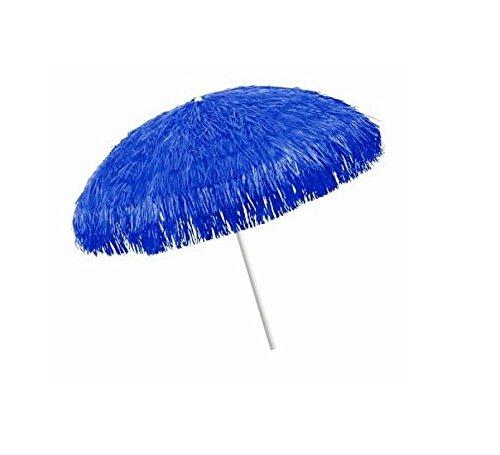Sonnenschirm Kenya Bastschirm Ø 180/200cm Raffia 8 Streben & Stahlknicker Hawaii-Style (dunkelblau)