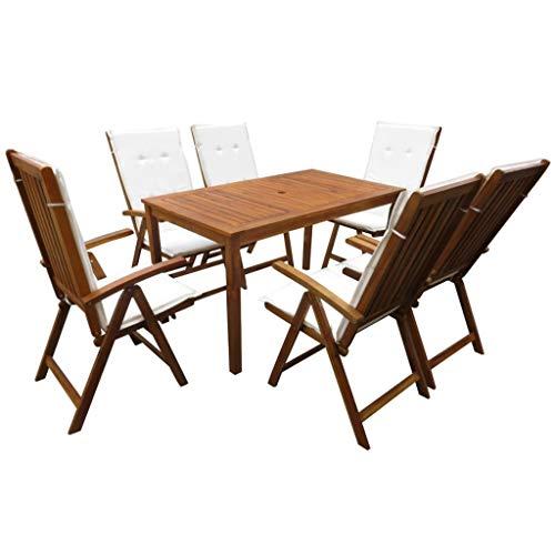 Tidyard- Garten-Essgruppe 13-TLG.mit Kissen Tisch und Stuhl Set | Holztisch und Stuhl | Gartengruppe | Gartenmöbel Essgruppe 1 Tisch + 6 Klappstühle 6 x Kissen Akazie Massivholz