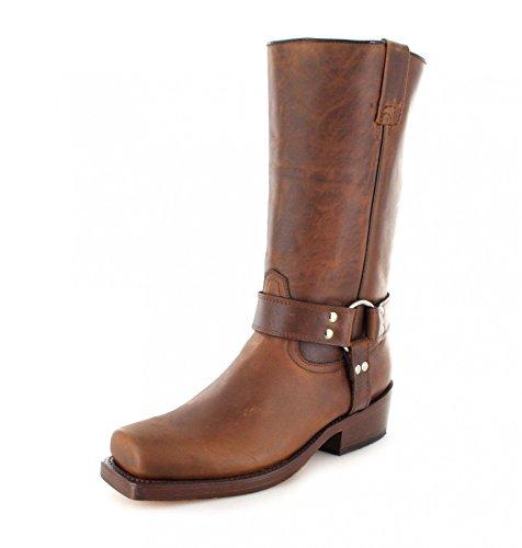 FB Fashion Boots Buffalo Boots 1801 Brown Bikerstiefel für Damen und Herren Braun Lederstiefel, Groesse:48