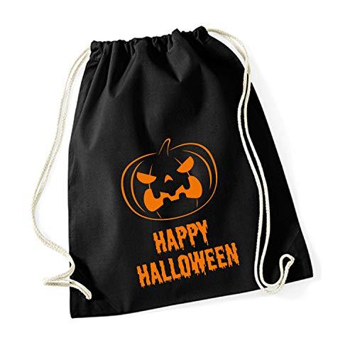 (Shirt-Panda Unisex Gymsack Happy Halloween Kürbis Turnbeutel mit Druck Happy Halloween Schwarz)