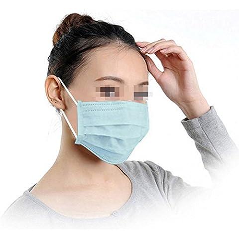 TININNA Desechable azul , 50 pcs 3 capas máscara auriculares polvo procedimiento quirúrgico boca cubierta boca máscara filtro